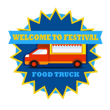 Food truck festival round emblem with car