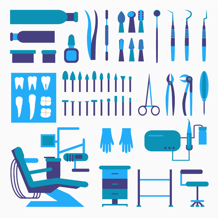 Set of dentist tools and equipments. Dental office, implants and dental care. Çizim