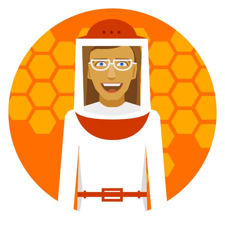 Beekeeping. Smiling beekeeper woman on a round emblem.
