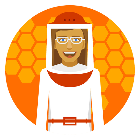 apiculture: Beekeeping. Smiling beekeeper woman on a round emblem.