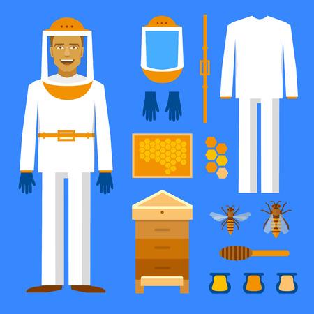 bee house: Beekeeping set. Men beekeeper costume. Bee, honey bee house honeycomb Illustration