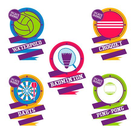 Sports Balls elements. Croquet, badminton, darts water polo