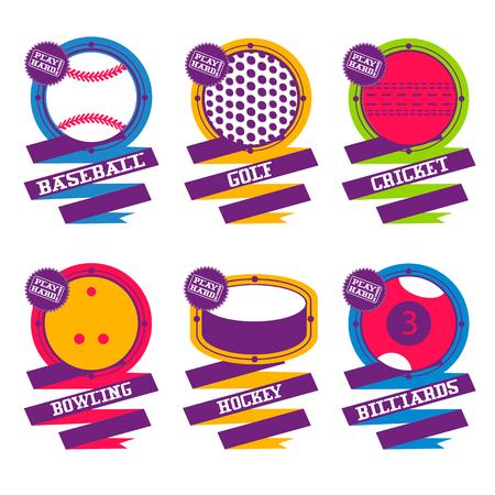 balones deportivos: Bolas de los deportes emblema. Golf, hockey, béisbol billar bolos de críquet