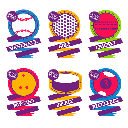 Sports Balls emblem. Golf, hockey, billiard baseball bowling cricket