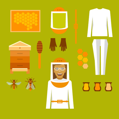 Beekeeper infographic with elements, bees and apiaries. Çizim