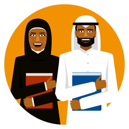 Round emblem. Smiling arab students with books. Illustration