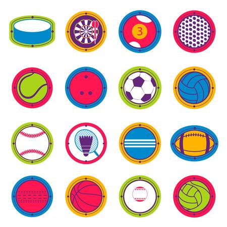 Colorful Sports Balls. Football, basketball, golf, volleyball, hockey, american football, tennis, billiard baseball bowling cricket croquet badminton darts golf Çizim