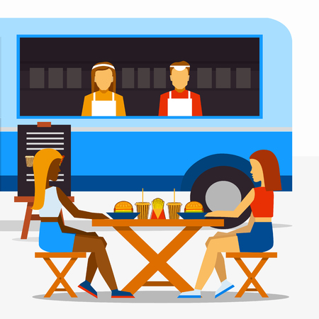 seating: Food truck festival. Street food truck with sellers and people in seating areas Illustration