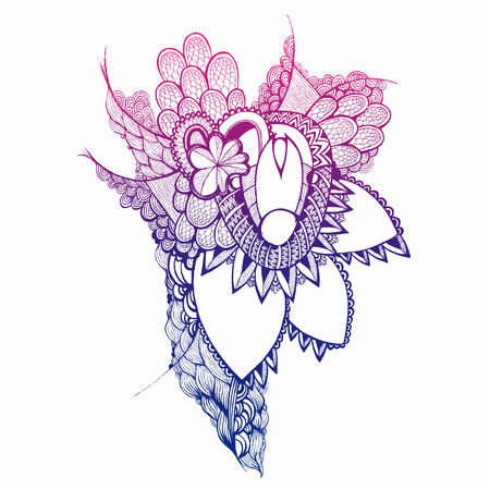 Colorful Hand drawn flowers and elements. Doodling. Çizim
