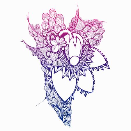 Main Colorful fleurs et éléments tirés. Doodling. Vecteurs