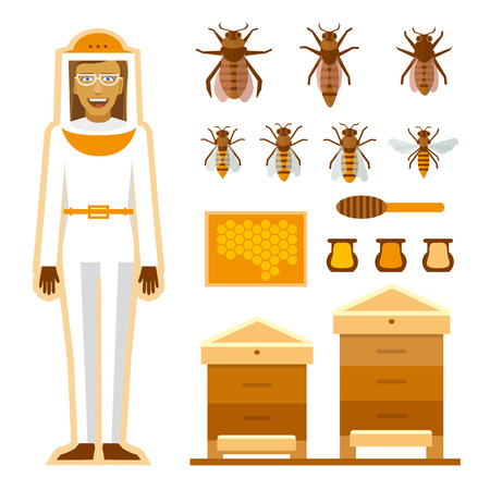 bee house: Smiling beekeeper with bees and apiaries. Women beekeeper costume. Bee, honey, bee house, honeycomb Illustration