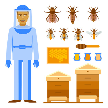 bee house: Smiling beekeeper with bees and apiaries. Men beekeeper costume. Bee, honey, bee house, honeycomb
