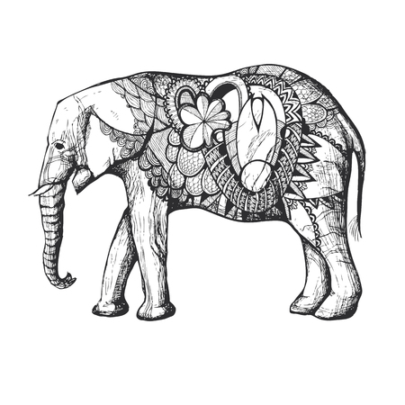 black silhouette: Colorful Hand Drawn African elephant in black silhouette with decorative elements.