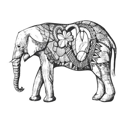 negras africanas: La mano de colores dibujado elefante africano en silueta negro con elementos decorativos.