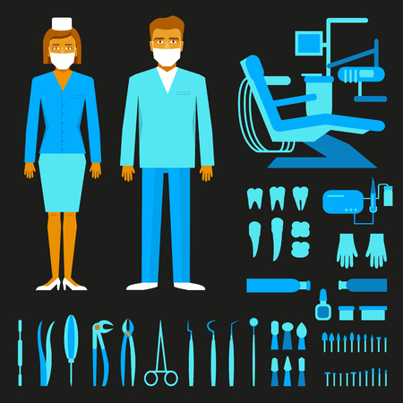 tweezer: Dentists male and female in costume. Set of dentist tools and equipments