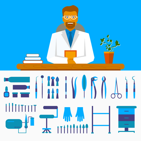Dental office. Smiling dentist in costume at the table. Set of dentist tools and equipments Illustration
