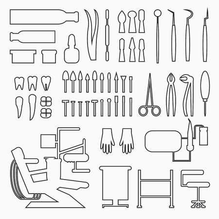 Set of dentist tools and equipments. Dental office, implants and dental care in black lines. Illustration