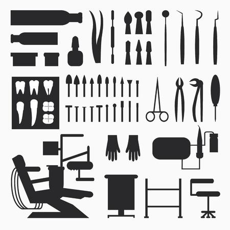 dental implants: Set of dentist tools, equipments and dental office, implants and dental care.
