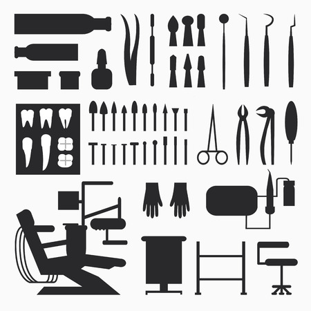 Set of dentist tools, equipments and dental office, implants and dental care.