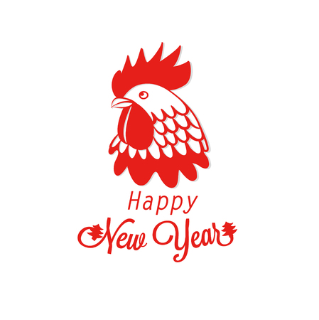 Silhouette red rooster on a white card for new year 2017