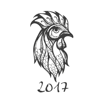 Silhouette black rooster on a white card for new year 2017