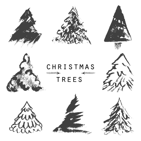 Illustration of black and white christmas trees