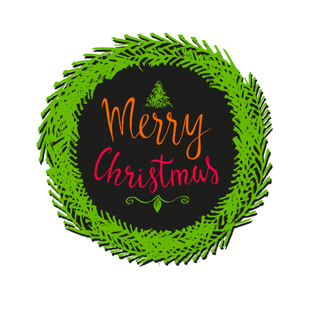 Hand drawn Merry Christmas Lettering in wreath.