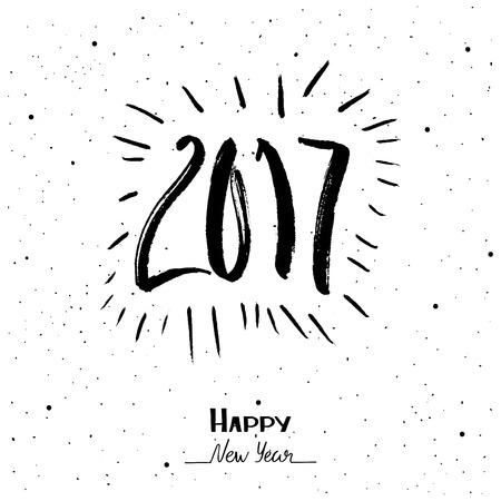Hand Drawn lettering happy new year 2017.
