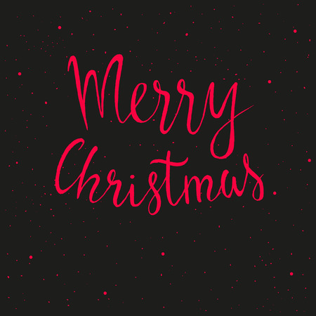 Hand drawn Merry Christmas lettering with snowflake.