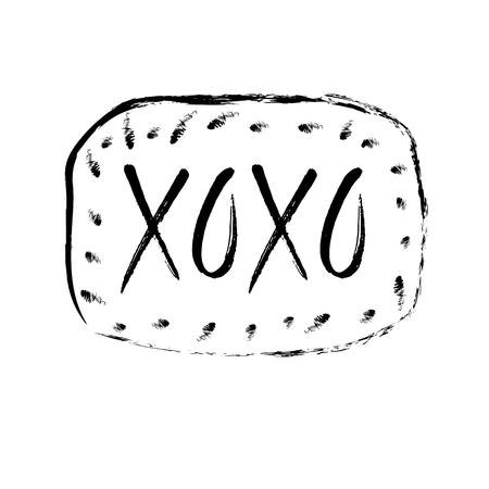 illustration with hand drawn lettering xoxo Çizim