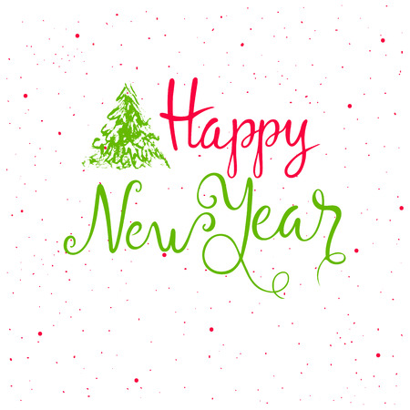 Colorful Hand Drawn lettering happy new year.