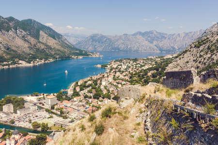 Kotor old town and Boka Kotorska bay in Montenegro