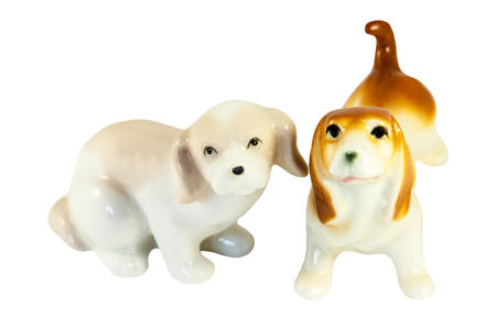 statuettes: Statuettes Ceramic dogs isolated on white background