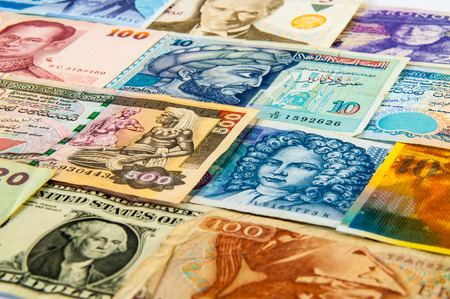 third world economy: The variety Portraits on faces of international banknotes