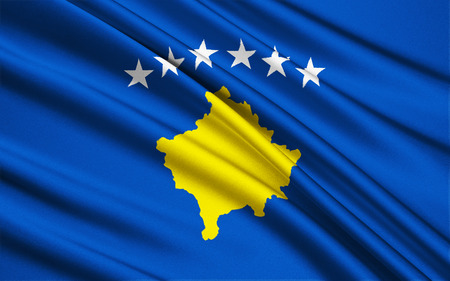 declaration of independence: The flag of the Republic of Kosovo was adopted by the Assembly of Kosovo immediately following the declaration of independence of the Republic of Kosovo from Serbia on 17th February 2008. Stock Photo
