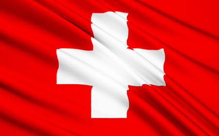 central european: The flag of the central European country of Switzerland. It was introduced as the official Swiss national flag in 1889.