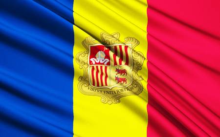 adopted: The national flag of the Principality of Andorra - adopted in 1866.