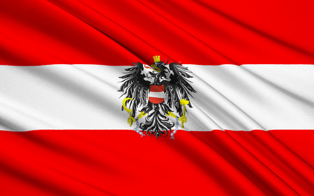 in europe: Flag of Austria - The Austrian triband is one of the oldest flag in use dating from 1230. Stock Photo