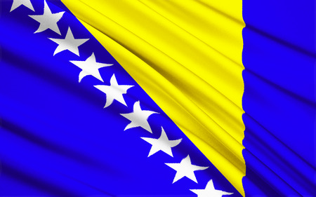 former yugoslavia: Flag of Bosnia and Herzegovina. The three points of the triangle stand for the three peoples of Bosnia and Herzegovina: Bosniaks, Croats, and Serbs. It also represents the map of Bosnia and Herzegovina which looks like a triangle. The stars represent Euro Stock Photo