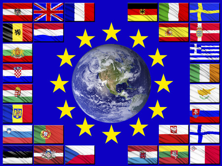 sweden flag: Flags of the countries of the European Union against the background of the flag of the EU