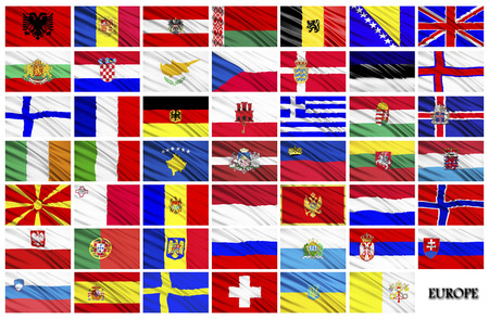 alphabetical order: Flags of European countries in alphabetical order Stock Photo