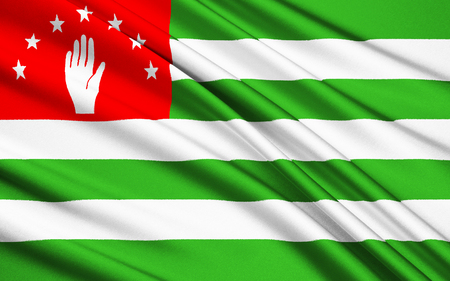 sukhumi: Flag of Abkhazia waving in the wind Stock Photo