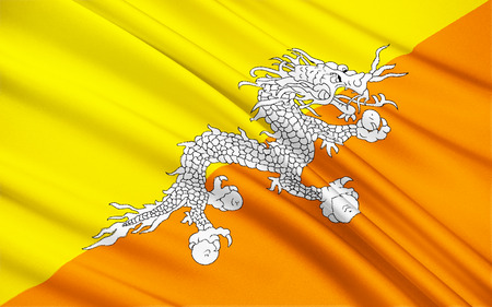 lineage: The national flag of The Kingdom of Bhutan - The flag is based upon the tradition of the Drukpa Lineage of Tibetan Buddhism and features Druk, the Thunder Dragon of Bhutanese mythology.