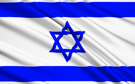 The flag of Israel was adopted on October 28, 1948, five months after the establishment of the State of Israel. The symbol in the centre represents the Star of David. Stock Photo - 45742145