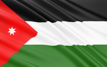 ヨルダン - 1928 年 4 月 18 日に正式に採用の旗。第一次世界大戦中のオスマン帝国に対するアラブ反乱旗に基づきます。7 先の尖った星は、コーランの最初の surah の 7 つの詩の略です。 写真素材 - 45742148
