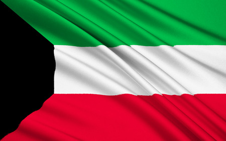 gcc: National flag of the emirate of Kuwait. Stock Photo