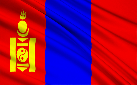 earlier: State flag of Mongolia - adopted on February 12th 1992, after the transition of Mongolia to a democracy. It is similar to the earlier flag except for the removal of the socialist star on top of the Soyombo. Stock Photo