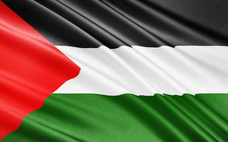 raise the white flag: The Palestinian flag is based on the Flag of the Arab Revolt, and is used to represent the Palestinian people since 1964, and the State of Palestine since 1988. Stock Photo