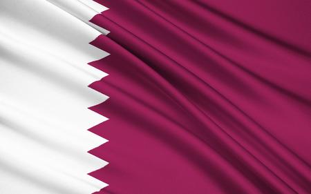 bandera blanca: bandera nacional y la bandera de Qatar - La bandera fue adoptada oficialmente el 9 de julio de 1971, a pesar de una bandera casi id�ntica solamente difieren en proporci�n hab�a sido utilizado desde 1949. Foto de archivo