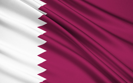 differing: National flag and ensign of Qatar - The flag was officially adopted on July 9, 1971, although a nearly identical flag only differing in proportion had been used since 1949. Stock Photo